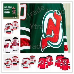 New Jersey Devils 2020-21 Reverse Retro Hockey Jersey 19 Dawson Mercer Jack Hughes P.K. Subban Cory Schneider Corey Crawford Mukhamadullin