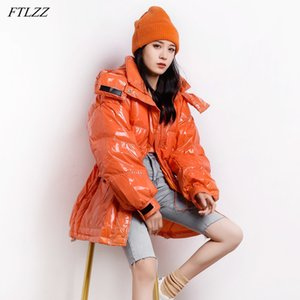 FTLZZ Winter Women Candy Color Hooded Warm Snow Down Coat 90% White Duck Down Parkas Loose Stand Collar Windproof Outwear 201125