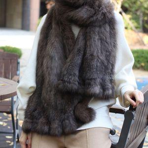 Sable fur female mink knitted scarf shawl