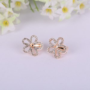 JIOFREE Korea Style Five petals Shape Rhinestone on Earrings Without Piercing for Girls Party Cute Lovely No Hole Ear Clip