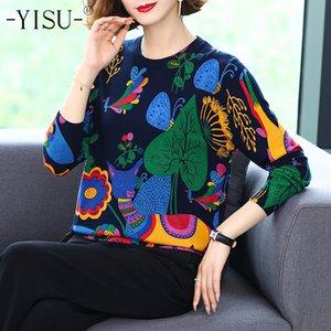 Yisu autunno autunno pullover di alta qualità allentato maglioni maglioni maglioni femminili morbidi cartone animato stampa maglione maglione donne