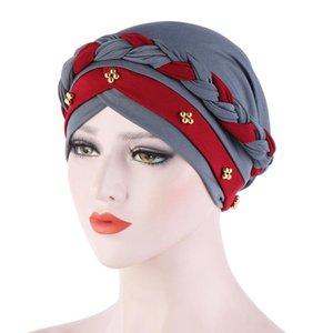 India Muslim Women Hat Cancer Chemo Cap Braid Beads Turban Headscarf Islamic Head Wrap Lady Beanie Bonnet Hair Loss Cover