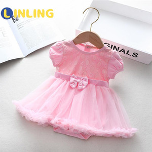LINLING Summer Toddler Baby Girls Clothes Summer Romper Layered Puff Short Sleeve Rompers Dress Newborn Girl Kids Clothes P370
