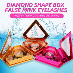 DHL free 3D Mink Hair False Eye Lashes with diamond shape box 5 colors 16styles for eyelash in stock