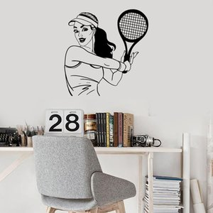 Tennis Girl Wall Decal Player Sports Room Girls Bedroom Home Decoration Art Mural Vinyl Wall Stickers Stadium Wallpaper 1835