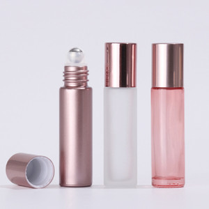 10ml Rose Gold Glas Ätherische Öl Parfüm Flaschen Rollen auf Parfüm Diffusor Flasche Klar / Rose Gold Glasflasche Billig Großhandel