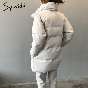 syiwidii woman parkas plus size clothing for women jacket beige black Cotton Casual Warm fashion Button Long winter coat 201118