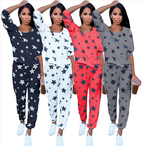 Women Pajamas Suit Spring Autumn New Thin Star Printed Long Sleeve Cute Sleepwear Casual Homewear Female Pyjamas Two Piece Set