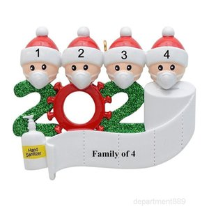 Quarantine Christmas Hanging Decoration Birthdays Party Gift Product Personalized Family Of 4 Ornament Pandemic Social Distancing OWF1666