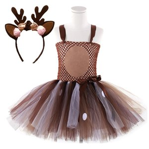 Deer Tutu Dress Baby Girls Dresses for Girls Halloween Costume For Kids Elk Cosplay Christmas Birthday Party Dress With Headband F1202