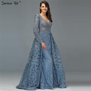 Dubai Muslim Blue Luxury Long elegant Evening Dresses Crystal Mermaid Evening Gowns Plus Size LA70159 201119