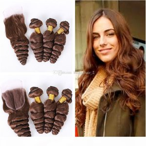 8A Loose Wave Brazilian Virgin Hair Color #4 Medium Brown Human Hair Weaves 3 Bundles With Lace Top Closure Chestnut Brown Hair Extensions