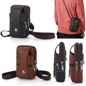 Leather Men Messenger Bags Crossbody Cell Phone Bags Vintage Handbags Fanny Pack Waist Bag Belt Case Outdoor Shoulder Bag