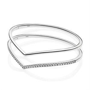2021 Yeni 100% 925 Ayar Gümüş Erken Bahar Shining Parıltılı Dilek Bileklik Pandora Bilezik Yığını Orijinal Moda Kadınlar Takı