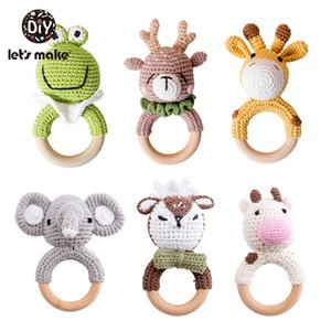 1pc Crochet Amigurumi Elephant Owl Rattle Bell Custom Newborn Pacifier Clip Montessori Baby Toys Educational Baby Rattle Product C1118