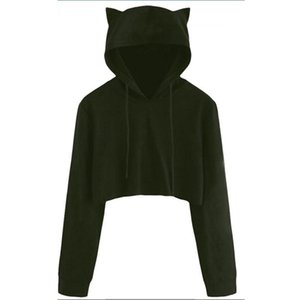 Women Sport Hoodies With Lovely Cats Ears Solid Teddy Cropped Hoodie Skateboard Pullovers Autumn Women Campus Casual Sweatshirts