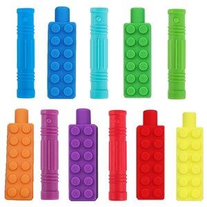 Crayon à la croquette Topper Morsure Silicone Teter Cap Sensory Jouet Sensorial Pour Enfants Enfants Autisme ADHD Chew Tetather Y1221