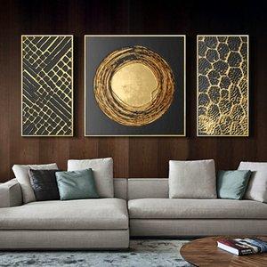 3 Paneller Soyut Altın Folyo Sanat Modern Resimler Tuval Boyama Duvar Posteri Oturma Odası Ofis Ev Dekoratif Y200102 Asmak için Hazır