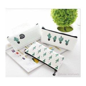 cactus créatif cactus case bourse canvas canvas stylo portable argent portefeuille bande zippée poche porte-clés cadeau kawaii sac crayon mignon ajxtd