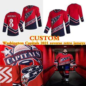 사용자 정의 워싱턴 수도 2021 리버스 레트로 유니폼 8 Alexander Ovechkin 74 Carlson 77 Oshie 43 Wilson 모든 번호 모든 이름 Hockey 저지