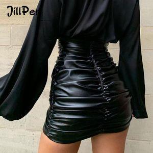 Jillperi Mujeres PU cuero kylie falda sexy ruchada alta cintura negro ultra corto mini fondo de fiesta fiesta de vacaciones desgaste faldas1