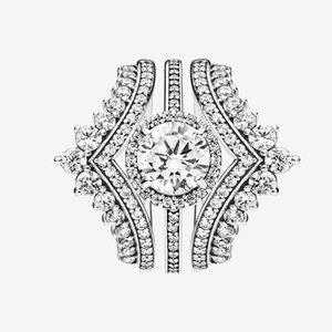 Women TOP Fashion Wedding RING set CZ diamond Princess Wishbone Ring with Original box for Pandora Real Sterling Silver Engagement Rings