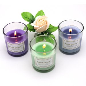 Aromatherapy Glass Cup Candle Romantic Valentine Birthday Festival Home Decorative Candle Scented Paraffin Violet Magnolia Candles BWD3144