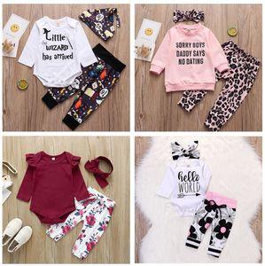 Baby girls boys clothes set cotton soft INS 3pcs set headband +romper+pant infant baby girls boys letters leopard flower clothes outfit set