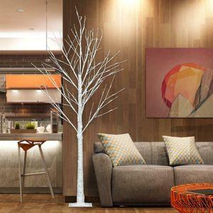 Hot 4 Ft Christmas Xmas Birch Snow Tree w  LED Lights Outdoor Party Decor NEW