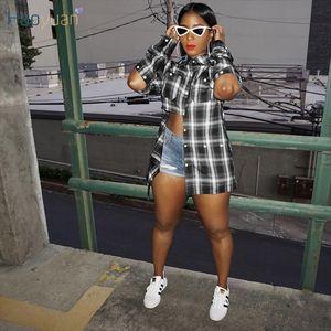 HAOYUAN Sexy Plaid Button Blouses Long Sleeve Loose Fall Shirt for Women Fashion Clothing Streetwear Night Club Tops Blouse