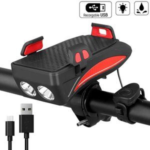 USB Bicycle Lights Multi-function Bike Horn Phone Holder Powerbank 4 in 1 Cycling Front Light Lamp for Night Riding 201125