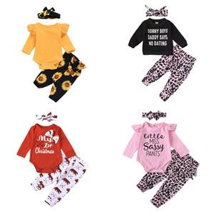 3 UNIDS Ropa de dibujos animados infantil Baby Tops Pantalones Pantalones Pantalones Diadema Sunflower Leopard Leopard Letra Bow Kid Set 2020 Primavera Otoño 25NN G2