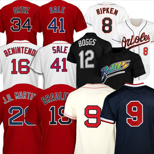 12 Wade Boggs Red Baseball Jerseys 16 Andrew Benintendi 9 Ted Williams 28 JD Martinez 15 Dustin Pedroia Jackie Bradley Jr. Cal Ripken Jr.