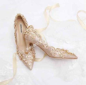 New Annual Meeting Banquet Shoes Champagne Golden Bride Shoes Seven Colour Water Diamond Adult Ceremony Fairy Shoes Pointed