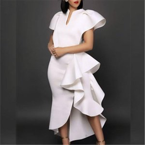 White Party Dresses Ruffles Slit Patchwork Sexy Stylish Occasion Women Vestido Date Out Night Celebrate Princess Event Robe Wear