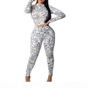 Dollar Printed 2PCS Womens Tracksuits Long Sleeve O Neck Long Pants Ladies Skinny Two Pieces Sets Fashion Female Clothing