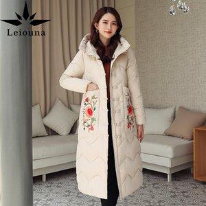 leiouna plus size engrossar bordado jaquetas longas 2020 moda mulheres casaco de inverno quente elegante algodão acolchoado jaqueta outwear Parka