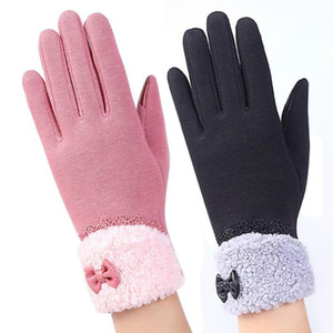 Laamei Fashion Bow Tie Womens Touch Screen Gloves Winter Ladies Lace Warm Cashmere Bow Full Finger Mittens Wrist Guantes Gift