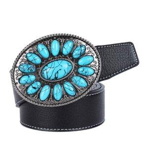 Cinture da cowboy cintura in pelle occidentale con fibbia turchese in finto bohémien, nero, marrone