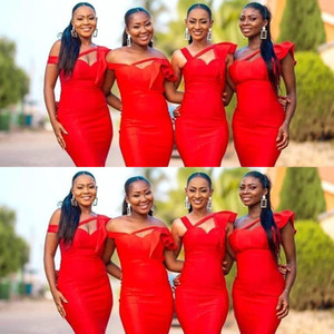 2021 Cheap Sexy African Red Satin Mermaid Long Bridesmaid Dresses Off The Shoulder Ruched Ruffles Custom Wedding Guest Maid Of Honor Gowns