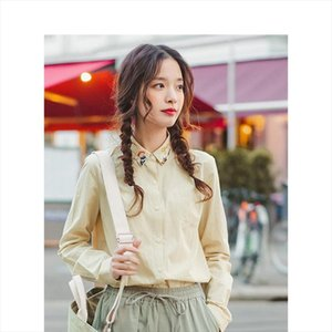 INMAN Spring Autumn 100%Cotton Pretty Embroidery Turn Down Collar All Matched Solid Literary Women Blouse Drop Shipping