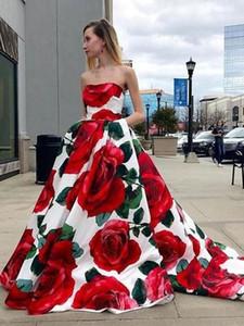 Elegant A Line Prom Dresses With Rose Print Strapless Evening Dress For Women Party Graduation Robe De Soirée De Mariage