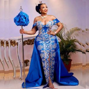 Aso Ebi Mermaid Evening Dresses Blue Off Shoulder Overskirt Prom Dress Plus Size Women Formal Gowns Front Split robe de soiree de mariage