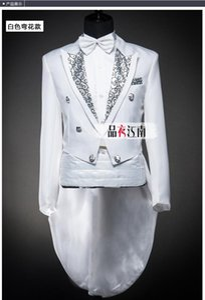 Black White Men's Suits Groom costume Wedding Groomsman Men's Tuxedo Dress Costume stage chorus command Bridegroom (Jacket+Pants