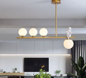 Modern LED Chandelier in the Living Room Gold Glass Ball Hanging Suspension Lamps for Home Bedroom Kitchen Lighting Luminaire