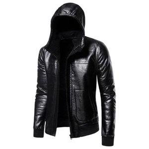 Black Winter Hooded Leather Jacket Men Plus Velvet thickening Motorcycle Leather Jackets Male Hoodies PU Coats