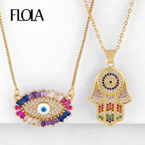 FLOLA Rainbow Evil Eye Necklaces for Women Hamsa Pendants Necklaces Cubic Zirconia Fatima Hand Gold Jewelry olho grego nkeq191
