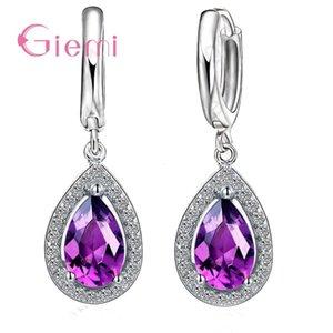 Novel Genuine Water Drop Clear Cubic Zirconia Earrings 925 Sterling Silver Jewelry For Female Women Brincos Gift Hot Sale