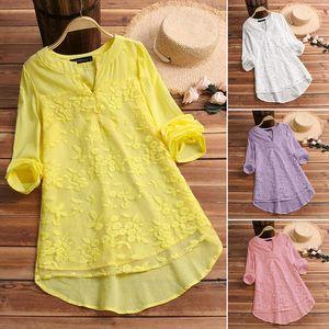 Elegant Embroidery Tops Womens Summer Blouse 2020 ZANZEA Tunic V Neck Long Sleeve Shirts Female Chic Button Blusa Plus Size 5XL