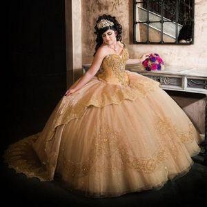Champagne Rhinestones Beaded Lace Princess Quinceanera Dress Ball Gowns Sweet 16 Party Dress Vestidos De Novia